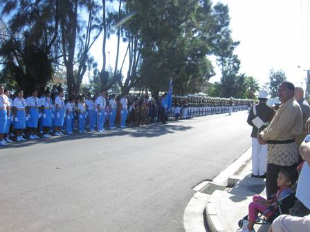 Tonga Scouts and Girl Guides. Open of Parliament in Tonga