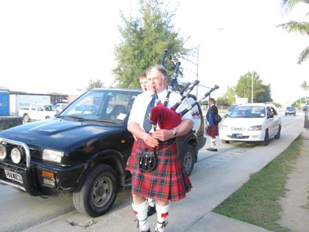 bagpipers outside of the Billfish