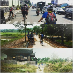 Cycling through Balikpapan Kalimantan Indonesia Sept 9 2015