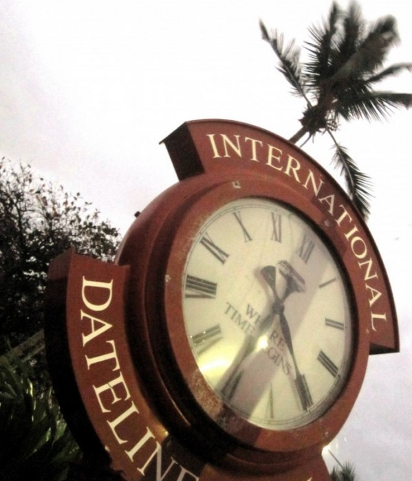 It's Tonga Time! International Dateline Hotel Clock in Tongatapu, Tonga