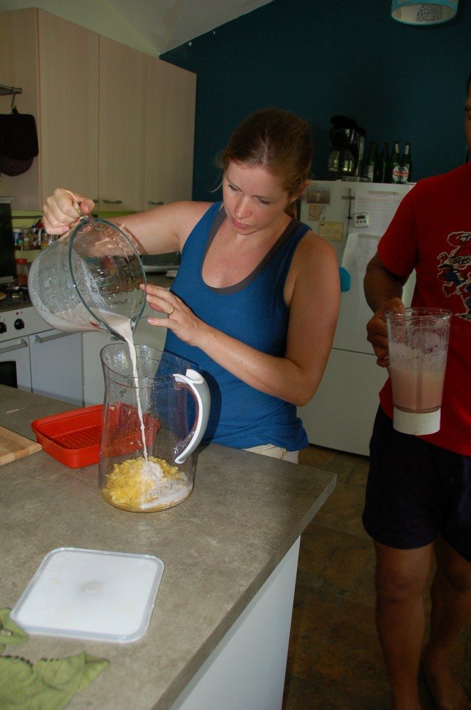 Mixing coconut cream with pineapple
