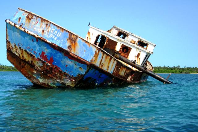 Abandoned Ship on the way to Manima Island, Tonga