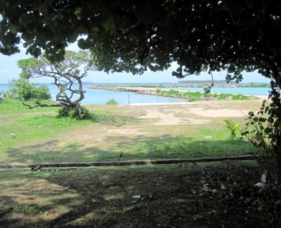 View of salt water pool area in Tongatapu where we put our kayak