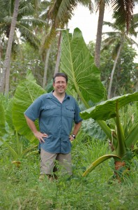 Sam next to Giant Taro