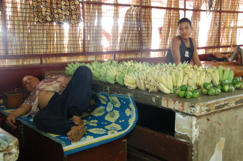 Not now, come back ... when I'm awake! Vendors snoozing at the Nukualofa Market in Tongatapu, Tonga