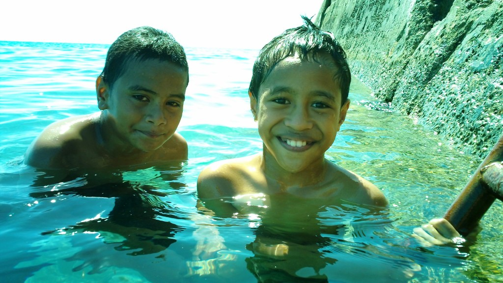 Swim Buddies at the American Pier in downtown Nukualofa, Tonga