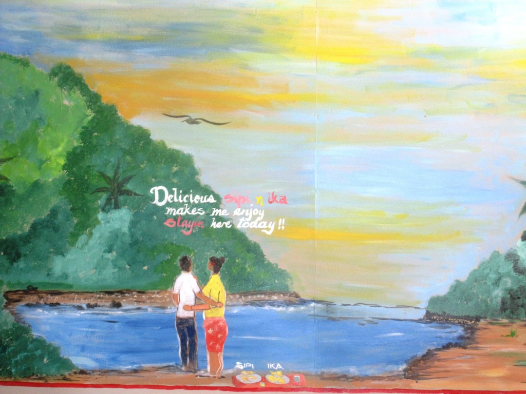 Life in Paradise (a restaurant mural at an Indian curry market stall) in Nukualofa, Tonga