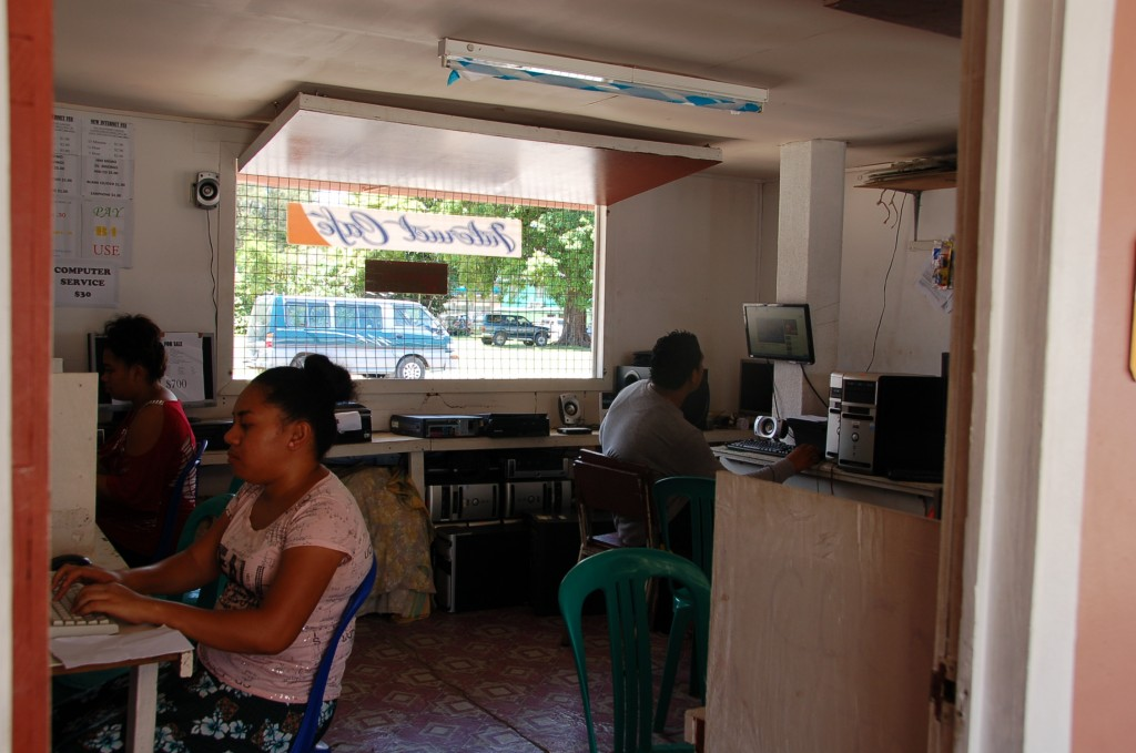 Computer kiosk along the outside of Meketi Talamahu