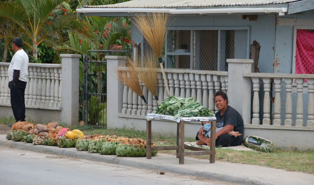 Produce Along Vuna, and all a body needs: Papaya, Coconut, Tropical Chestnut, Lu leaves and brooms!