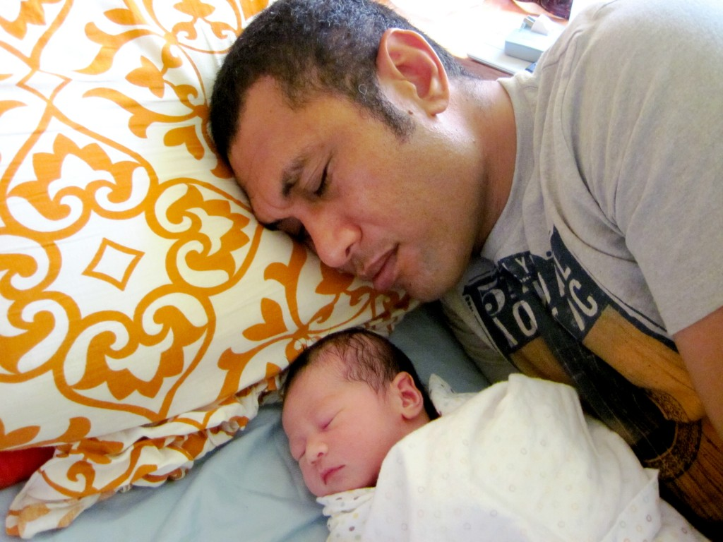 'Iva & Daddy resting in our hospital room, Nuku'alofa Hospital, Tonga © A.H.