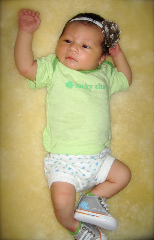 Our little lucky charm! (Her due date was supposed to be on St. Patrick's Day, but she came 6 days early.), © A.H.