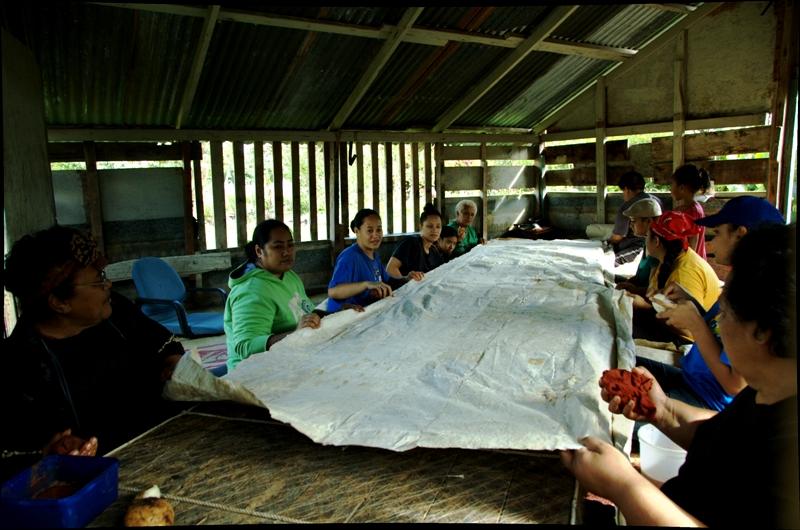 Lining up strips of tapa.Tapa Making in Tonga