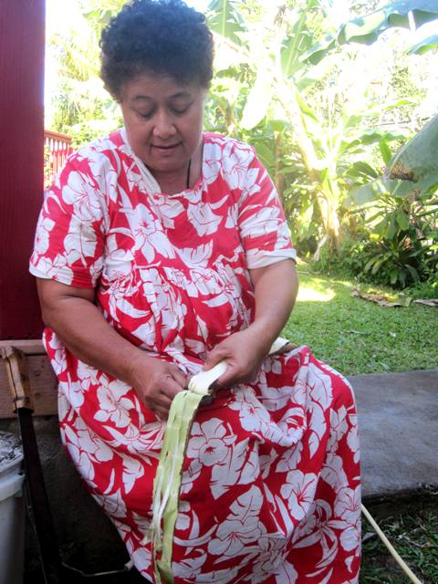 Peeling inner bark from outer bark of paper mulberry tree.Tapa Making in Tonga