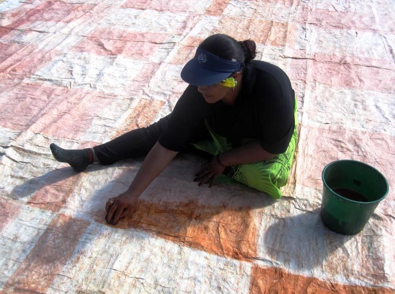 Tapa design using flour for glue.Tongatapu Tonga