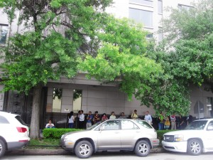 Morning line outside Houston Chinese Consulate Visa Center