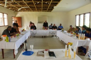 The kickoff health presentation at Tailulu Ha'apai: town officers from every village in Foa and Lifuka (except one)