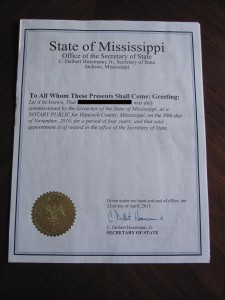 Copy of Mississippi Secretary of State Document Authentication