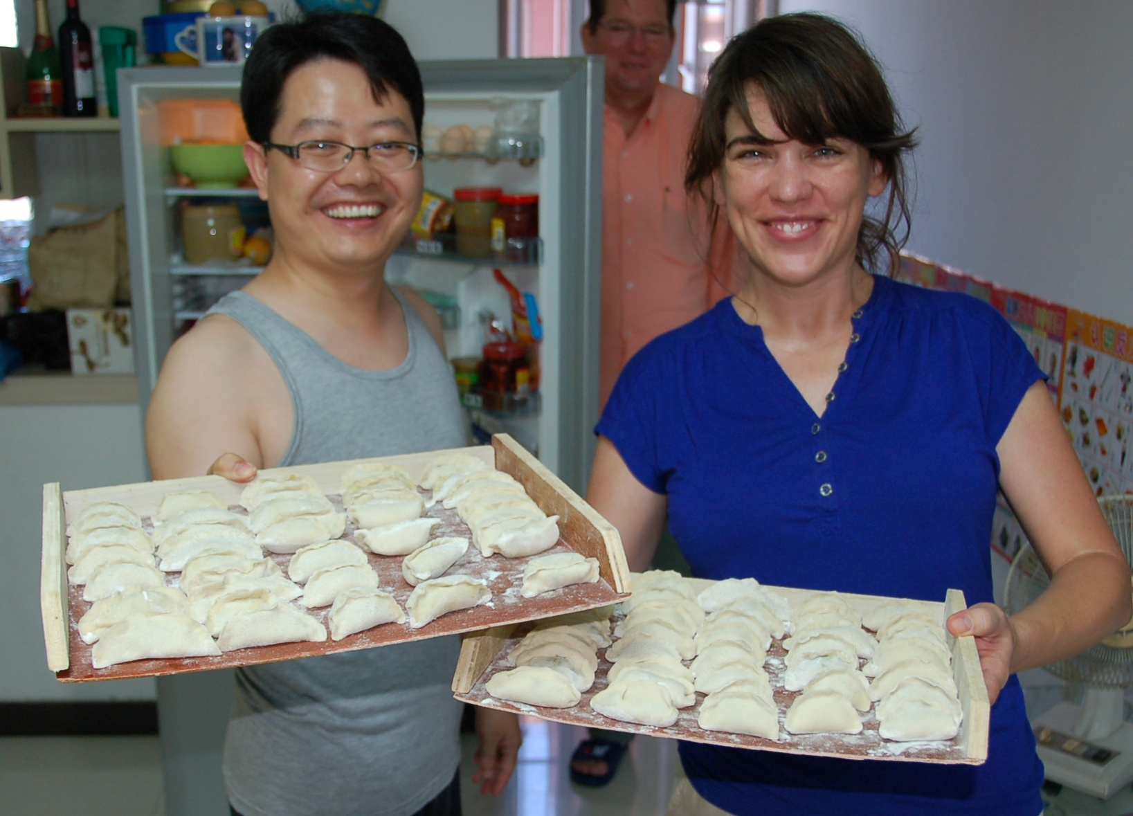 Dominic and me, with trays of fresh Jiaozi