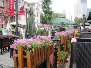 View from a Bavarian-themed restaurant at Italian-Style town