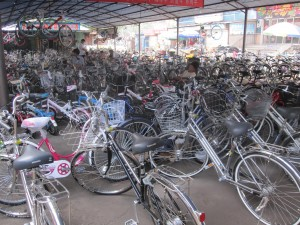 Bicycles for sale at a market
