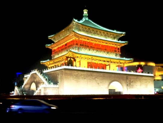 Xi'an drum tower at night.Xian China