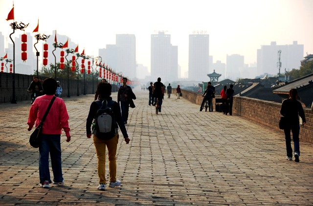 Cycling and Walking Xi'an City Wall. Xian China