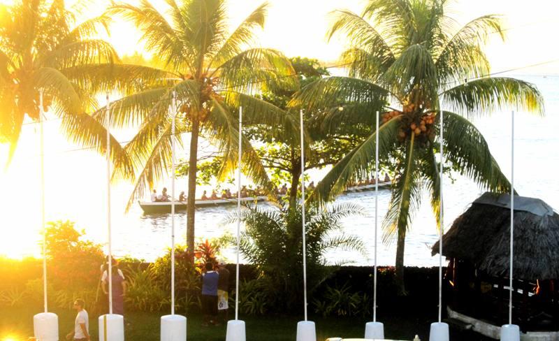 Canoers.View from Aggie Greys.Apia Samoa