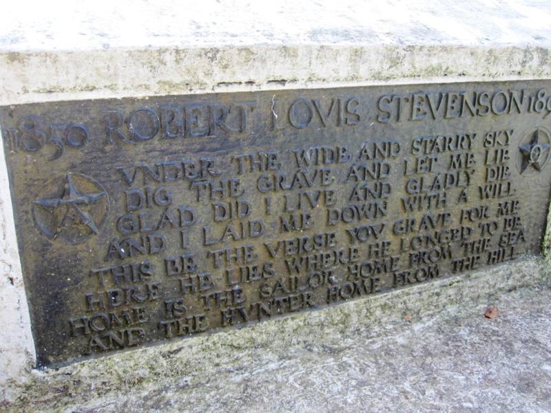 Robert Louis Stevenson Gravestone Mt Vaea. Apia Samoa