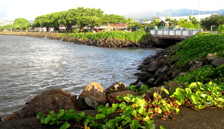 View of walkway around Apia Harbor.Samoa