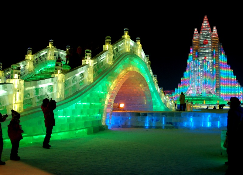 Ice Bridge at Harbin Ice Festival.Harbin China