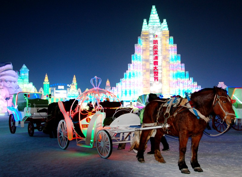 Ice Festival Cinderella Carriages.Harbin China