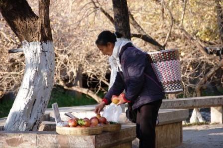Local woman selling fruit off Canal Path (Lijiang)