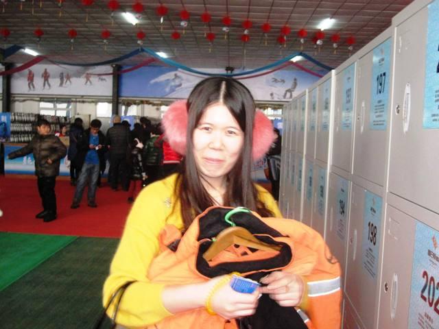 Jessica in front of lockers, Panshan Ski Resort