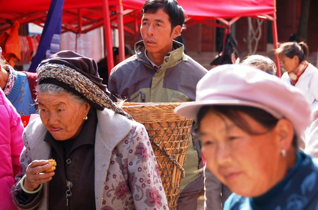 Shaxi Friday Market, Main Road: Old Woman with Baske