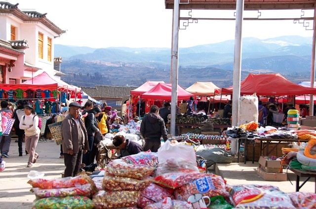 Shaxi Friday Market (this is just a section that spreads off the main road into a parking lot)