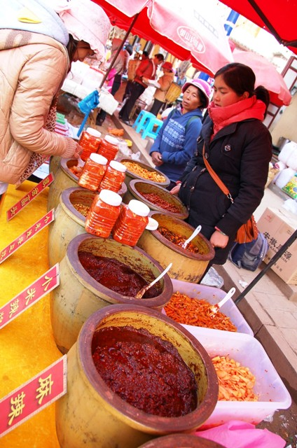 Shaxi Friday Market: A selection of chili sauces