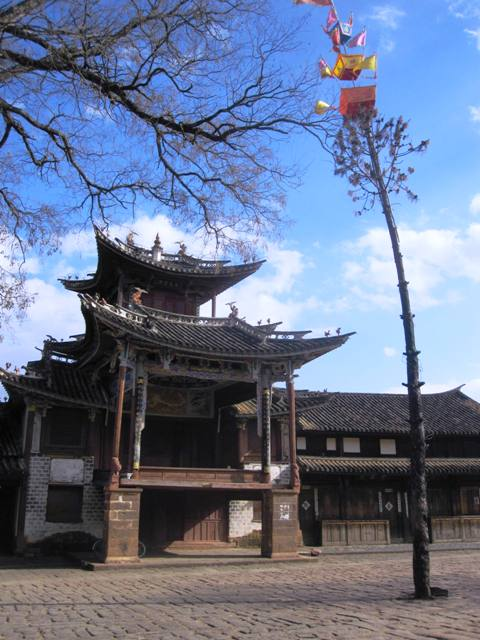 Shaxi Temple and Maypole on Sideng Square