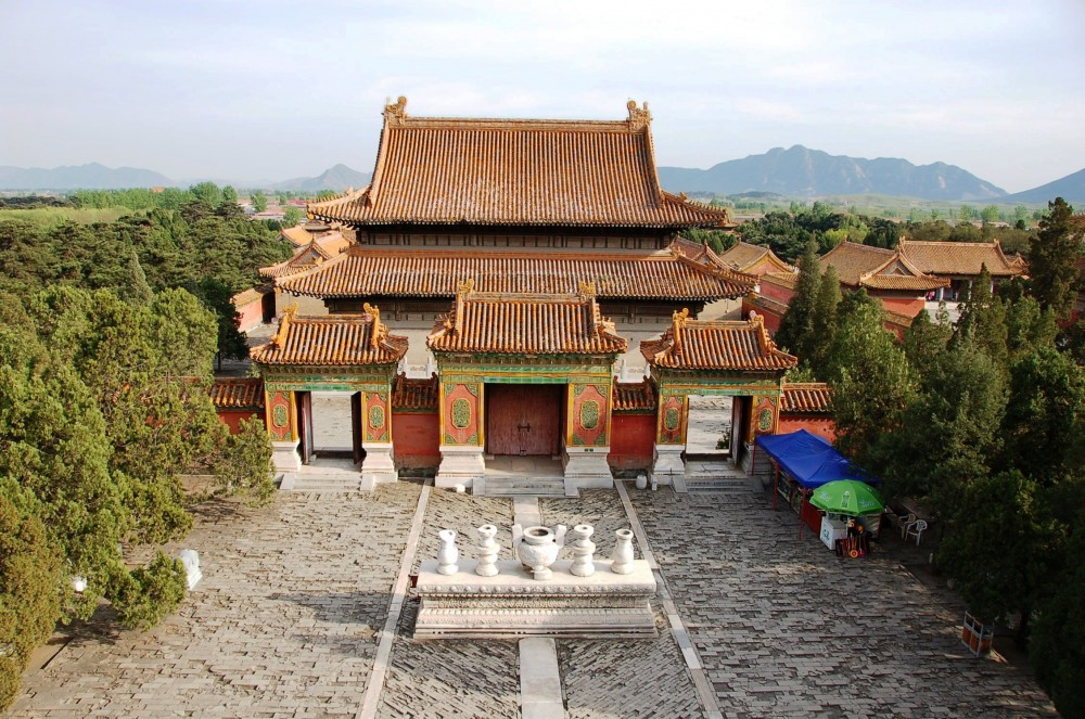 View of Empress Dowager Cixi's inner courtyard, taken from the roof of her tomb site. Qing Tombs