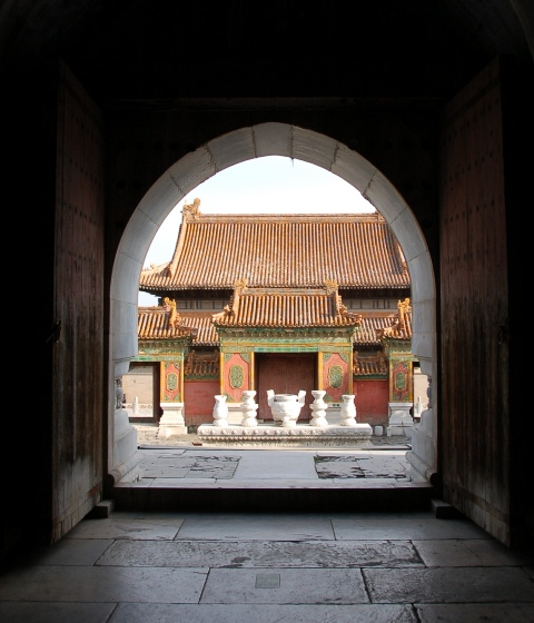 Coming up from the crypt of Empress Dowager Cixi, viewing her mausoleum ground outside.Eastern Qing Tombs, north China