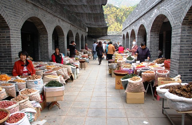 Marketplace selling local dried fruit and nuts at Huangya Fortress, Ji County, China