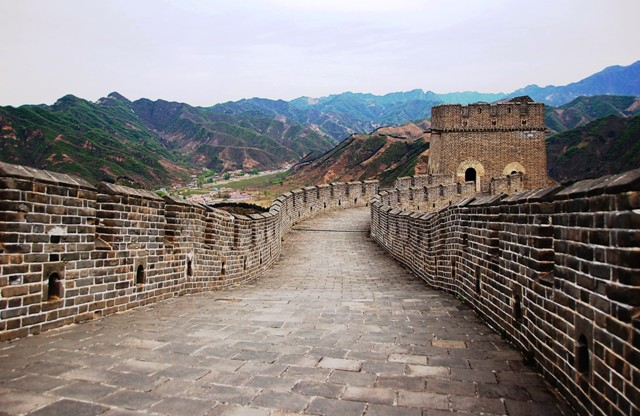 Reconstructed walkway on the Great Wall of China, Huangya Pass Ji Country