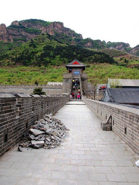 Walking on the water gate toward the Huangya Fortress, The Great Wall of China at Huangya Pass