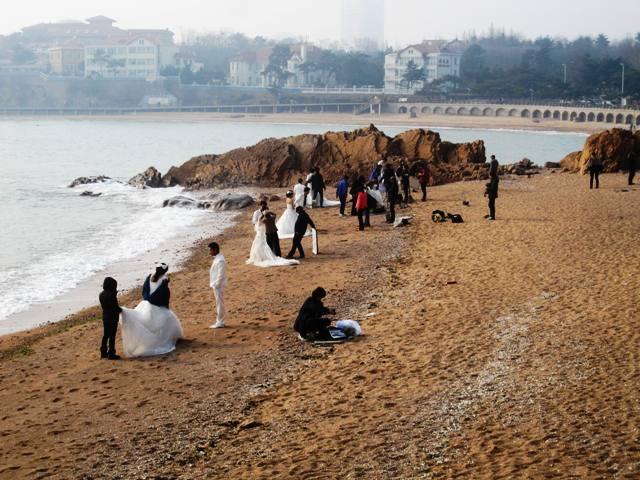 Qingdao beach on eastern side. A wedding photographer's nirvana!