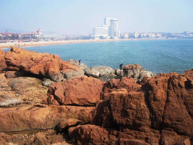View from Luxun Park, overlooking public beaches to the east.Qingdao beaches