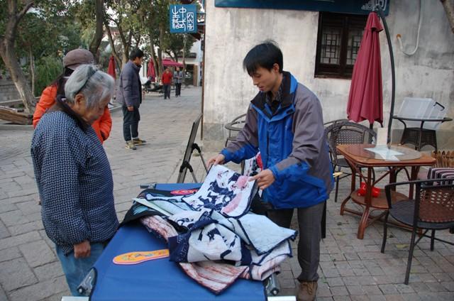 Suzhou Vendor selling local batik, Suzhou