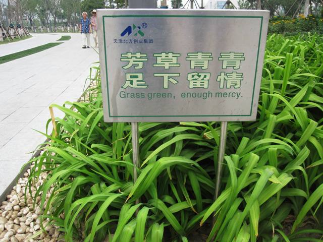 Galaxy Mall Park, Tianjin. What more can be said? English language signs in China