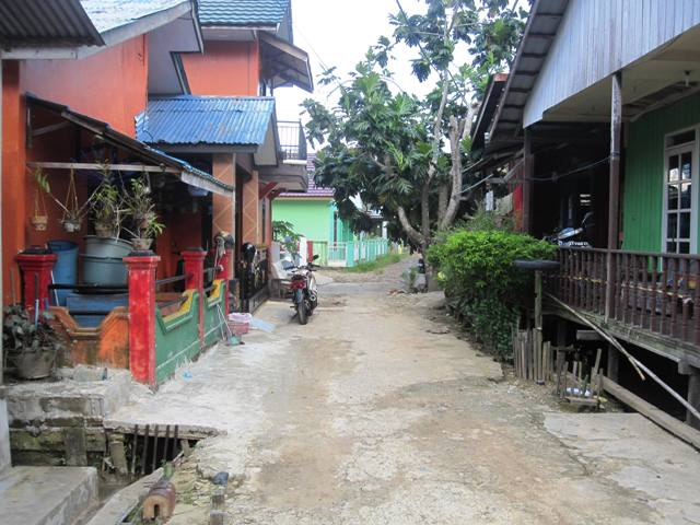 Route through a typical kampung.