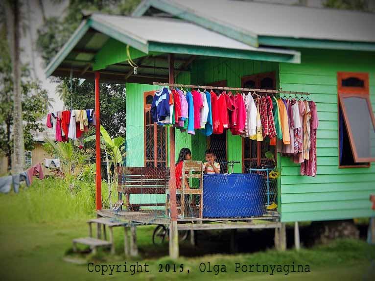 Laundry Day. Penajam village, East Kalimantan, Indonesia