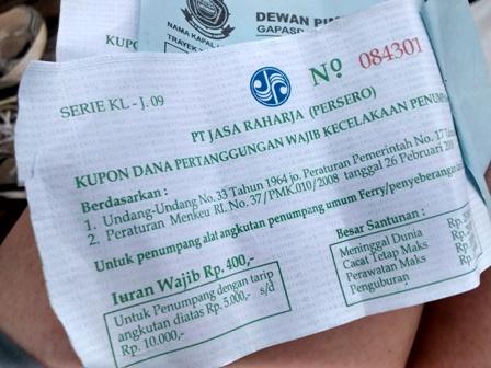 Life insurance certificate! Water taxi to Penajam from Balikpapan, Indonesia