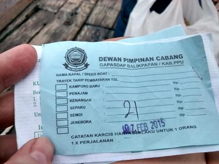 Water Taxi Ticket to Penajam from Kampung Baru